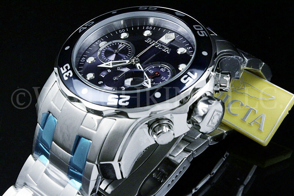 $89.99 - Invicta Men Pro Diver Scuba Blue Dial Swiss Made Chrono S.S Bracelet Watch NEW