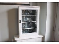 vintage / antique upcycled white floral wall cupboard