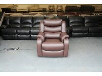 Ex-display P.K Denver brown leather electric recliner armchair