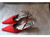 Faith Solo-Red Satin Sling Back Shoes Size 5/38