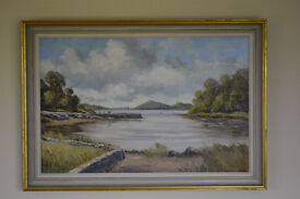 Two paintings for sale in frames Denis Thornton and JC McDaid Paintings