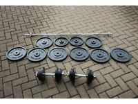 120kg Marcy cast iron weights set - barbell and pair of dumbbells / dumbells. Heavy duty gym set