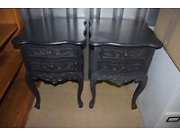 Pair of La Rochelle Black Antique French Style Bedside tables