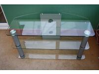 Stylish glass & chrome TV corner stand