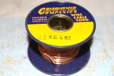 CONSOLIDATED WIRE CO NEW NOS 22BC BARE COPPER BUS BUSS AWG 22 SPOOL 4 oz (1/4lb)