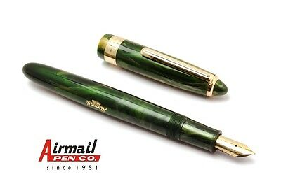 Airmail 69LG Acrylic Fountain Pen Buy 1 Get 1 Free Golden Trims Green Marble