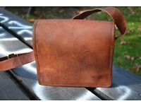 Small Brown Leather Messenger Bag (Brand New) Now XMAS SALE 10% OFF