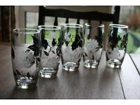 5 Black & White Flower Decorated Hi-Ball Tumbler Type Glasses Great Condition Fleet Hampshire GU51