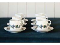 Pretty floral pattern 70s bone china coffee set   Royal Doulton Esprit design   Great condition