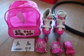 Girls skates with accessories pack. Hardly used. RRP Smyths £29.99 Great for outdoor summer fun!