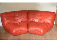 2 soft leather corner sofa chairs, orange, unusual funky design by Harveys furniture