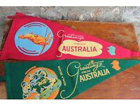 2 Vintage Australian Felt Pennant Flags Greetings from Australia Koala Kangaroo
