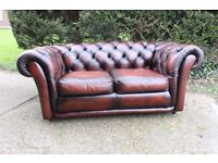 2 SEATER CHESTERFIELD SAXON LEATHER SOFA SPRUNG BASE EXCELLENT QUALITY