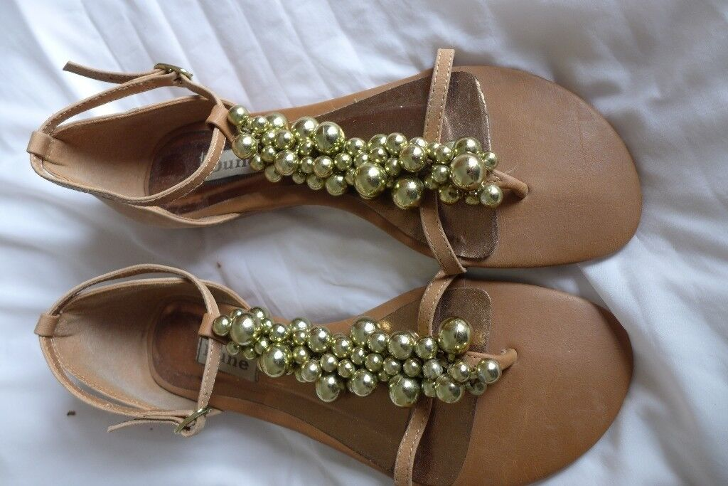 DUNE T-Bar, Leather Sandals with Gold Baubles. Size