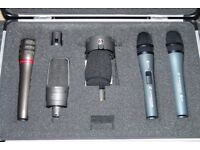 9 Professional Studio Microphones - Audio Technica - Sennheiser - AKG - With FREE Vandamme Cables