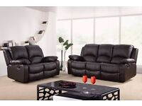 Violet 3&2 Bonded Leather Recliner Sofa set with pull down drink holder