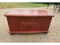 "Wooden storage box stained mahogany 33""(L) x 15""(W) x 17.5""(H) external dimensions"