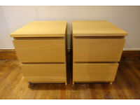 Ikea Malm Oak Veneer Set of 2 Drawers Bedside x 2 Immaculate Condition Ready to collect
