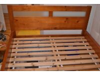 Solid double bed frame.