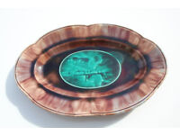 Antique Vintage French Serving Dish 27.5cm Across Unusual Colours Picture of Bridge Sweet Tray