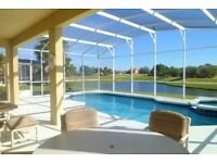 STUNNING KISSIMMEE, FLORIDA Disney Area Lake Front 5 Bedroom 3 Bath Pool Villa With Pool & Spa & BBQ