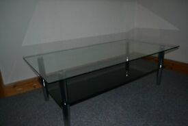 LARGE 2-TIER GLASS COFFEE TABLE