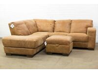 NEW DFS CAESAR ANILINE TAN RANCH LEATHER CORNER SOFA & FOOTSTOOL FREE UK DELIVERY