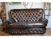 Thomas Lloyd Chesterfield Vintage Leather Sofa Brown