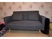 2 Seat Charcoal Fabric Sofa and Lounger Chair