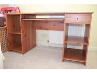 IKEA wooden desk with keyboard/laptop shelf
