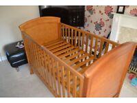 Mamas And Papas 3 Piece Summerhouse Demerara Solid Wood Used Nursery Furniture Set
