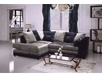 CRUSHED VELVET CORNER SOFA BLACK/SILVER