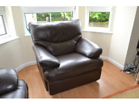 Brown reclining armchair faux leather