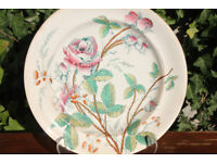 Large & Unusual 19th Century Victorian Plate with Rose & Thorns Handpainted over Transfer Flower