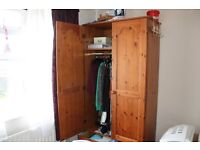 SOLID WOOD PINE DOUBLE WARDROBE 1 DRAWER