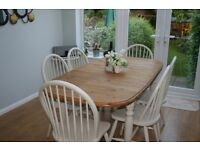 STUNNING,SHABBY CHIC, OVAL, PINE, FARMHOUSE, DINING TABLE WITH SIX CHAIRS - F & B paint - Off White
