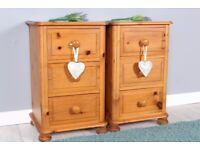 DELIVERY OPTIONS - 2 LARGE SOLID PINE BEDSIDE TABLES WITH 3 DRAWERS ON BUN FEET