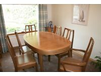NETHAN DINNING TABLE AND 6 CHAIRS PLUS NETHAN DISPLAY UNIT