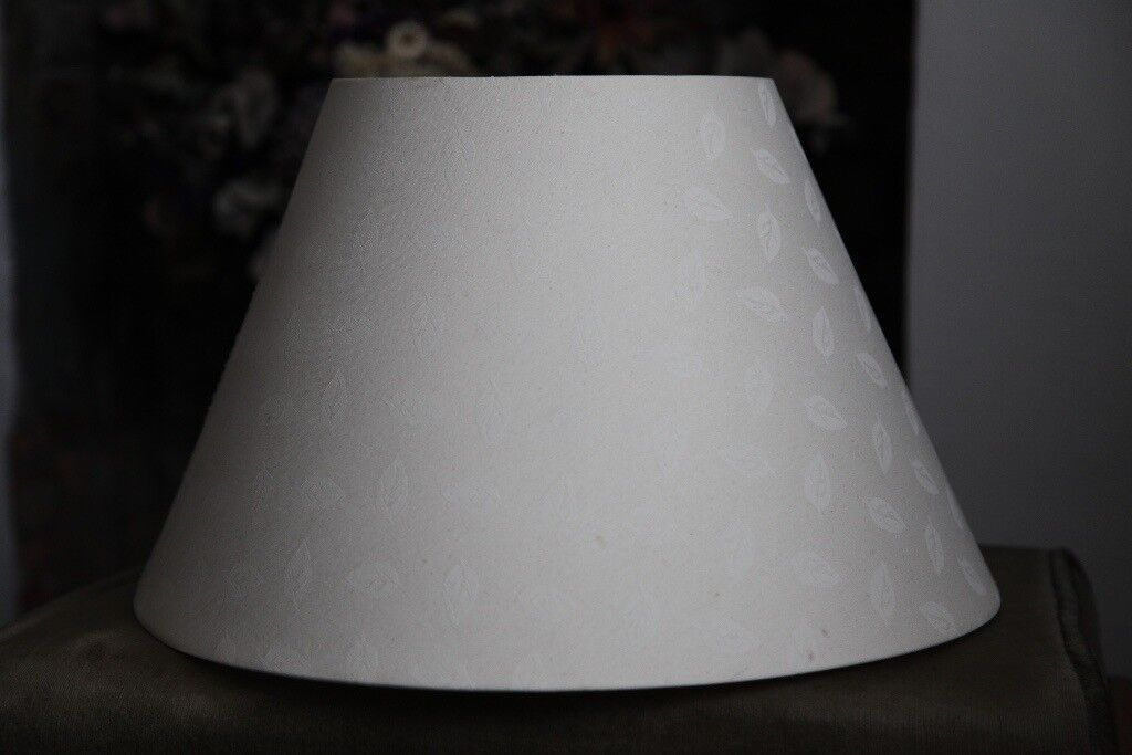 lighting - large cream Fabric Tapered Lampshade - leaves pattern