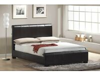 BROWN LEATHER DOUBLE BED - BRAND NEW - SCROLL TOP
