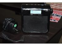 PURE MINI DAB RADIO/RECHARGEABLE BATTERRYPACK/POWRADAPTER/DAB ANTE