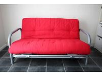 """Argos """"Mexico"""" Double Metal Futon sofa bed - poppy red"""