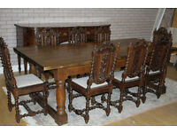 antique oak 8ft table and eight chairs