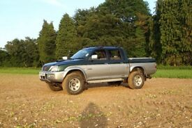 2003 Mitsubishi L200 double cab pickup truck, with Mountain-top back, Thatcham cat1 alarm, very tidy
