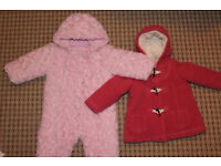 BABY GIRL SNOW SUIT AND WINTER COAT 6-9MONTHS