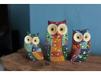Colourful owl ornaments