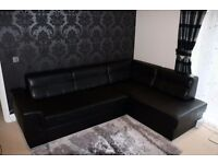 Black Leather Corner Sofa For Sale!