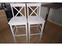 2 bar white chairs few months old