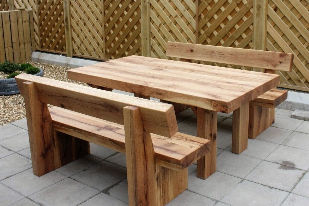 oak railway sleeper table and benches garden table bench. Black Bedroom Furniture Sets. Home Design Ideas