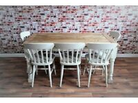 Farmhouse Extending Dining Table Set Painted Chairs & Benches - Up to Twelve Seater Rustic